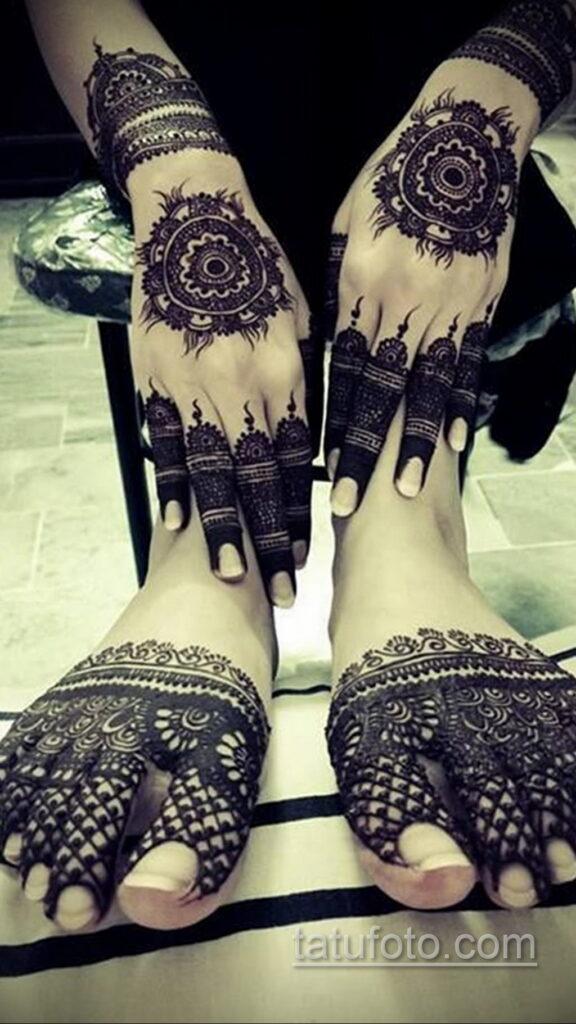 Рисунок тату хной для девушки 28.11.2020 №067 -henna tattoo for girl- tatufoto.com