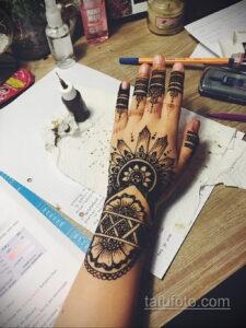 Рисунок тату хной для девушки 28.11.2020 №097 -henna tattoo for girl- tatufoto.com