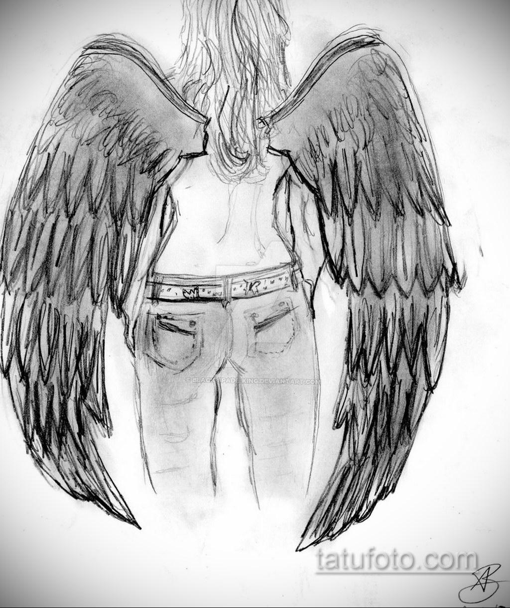 Фото ангельского рисунка тату 22.11.2020 №012 -Angelic tattoo- tatufoto.com