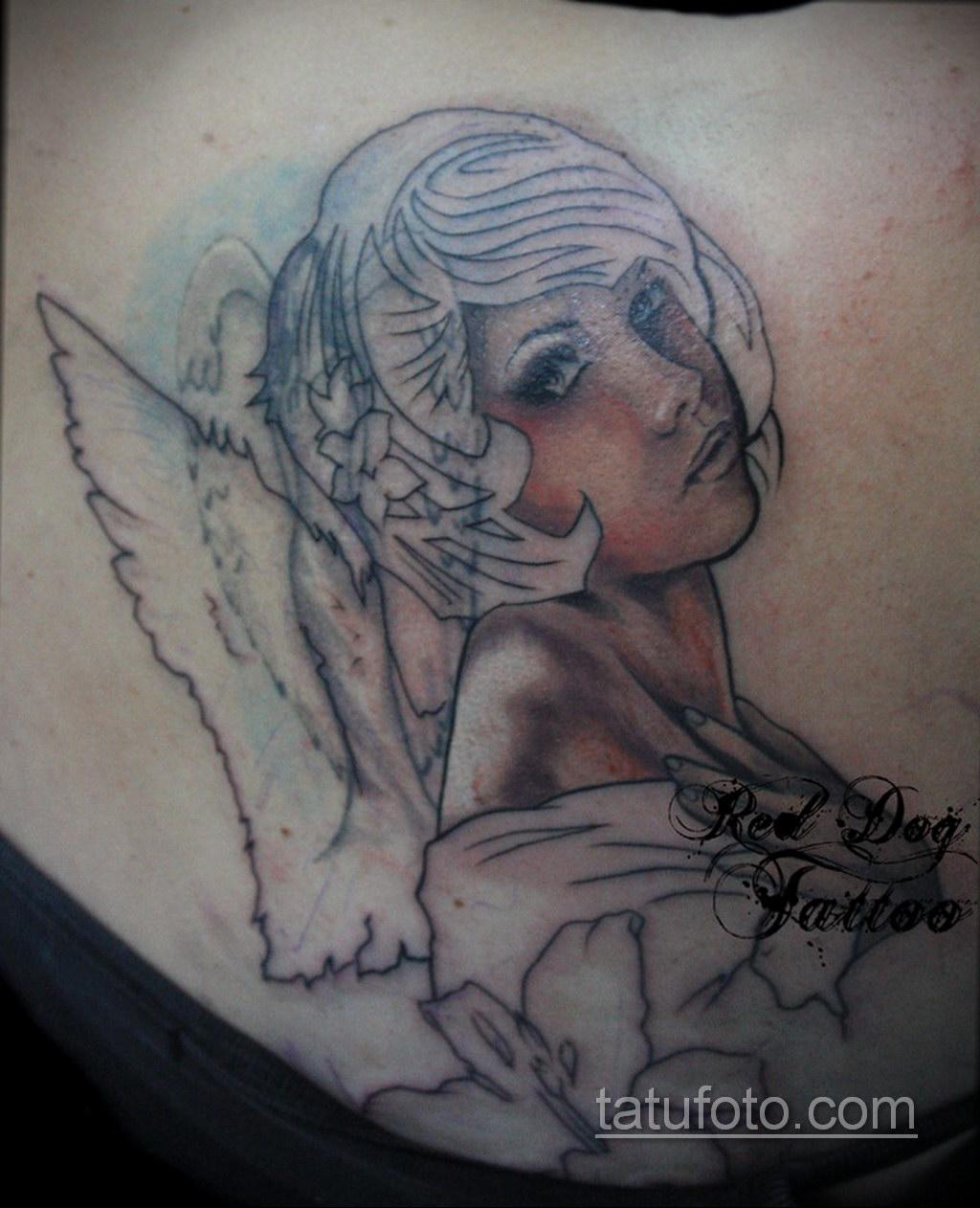 Фото ангельского рисунка тату 22.11.2020 №040 -Angelic tattoo- tatufoto.com
