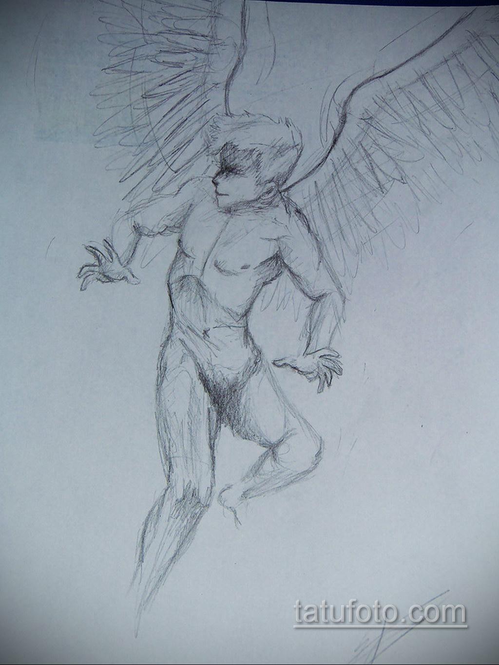 Фото ангельского рисунка тату 22.11.2020 №047 -Angelic tattoo- tatufoto.com