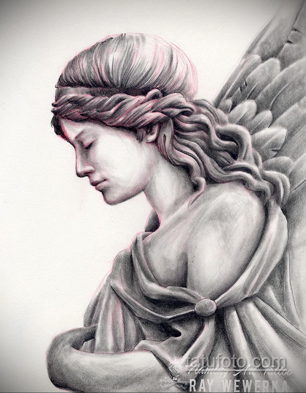 Фото ангельского рисунка тату 22.11.2020 №058 -Angelic tattoo- tatufoto.com