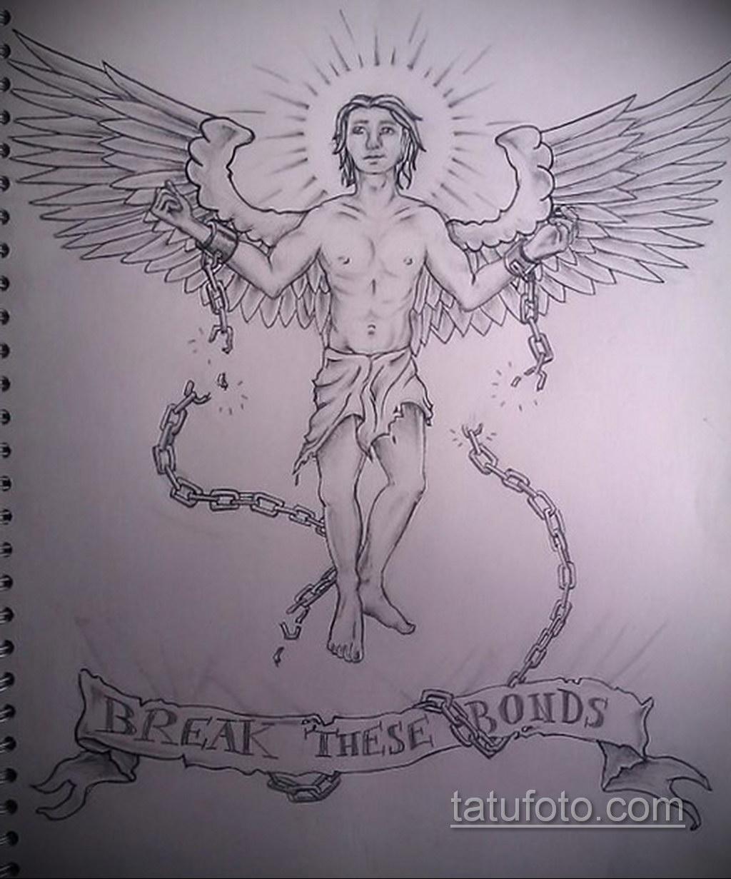 Фото ангельского рисунка тату 22.11.2020 №066 -Angelic tattoo- tatufoto.com