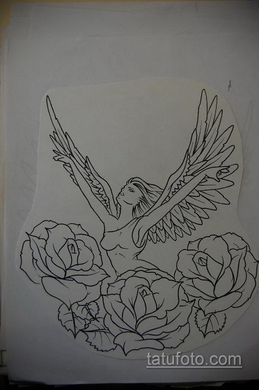 Фото ангельского рисунка тату 22.11.2020 №069 -Angelic tattoo- tatufoto.com