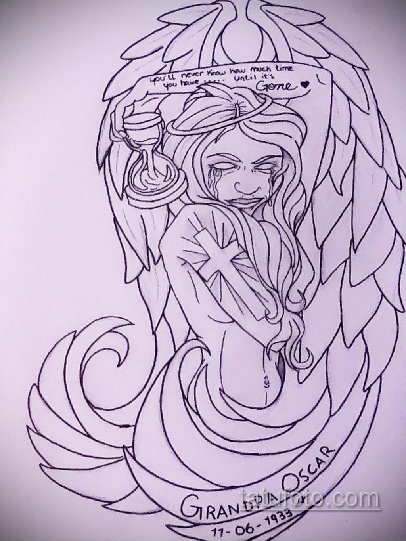 Фото ангельского рисунка тату 22.11.2020 №072 -Angelic tattoo- tatufoto.com