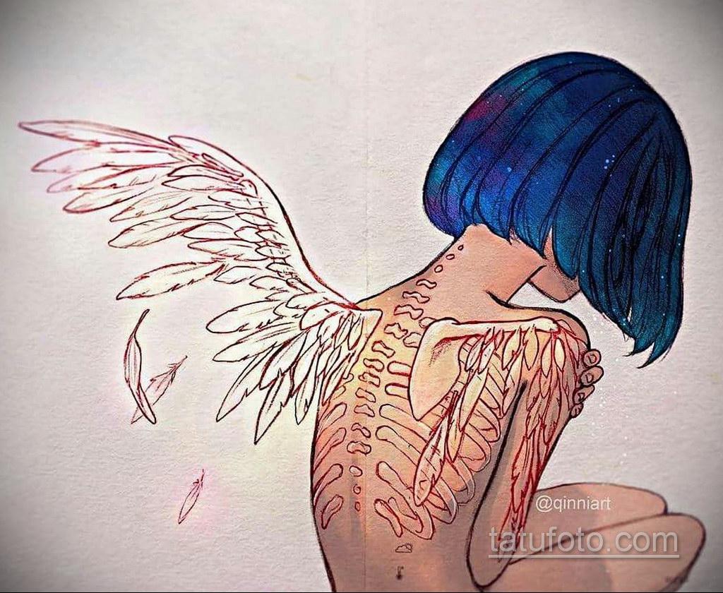 Фото ангельского рисунка тату 22.11.2020 №075 -Angelic tattoo- tatufoto.com