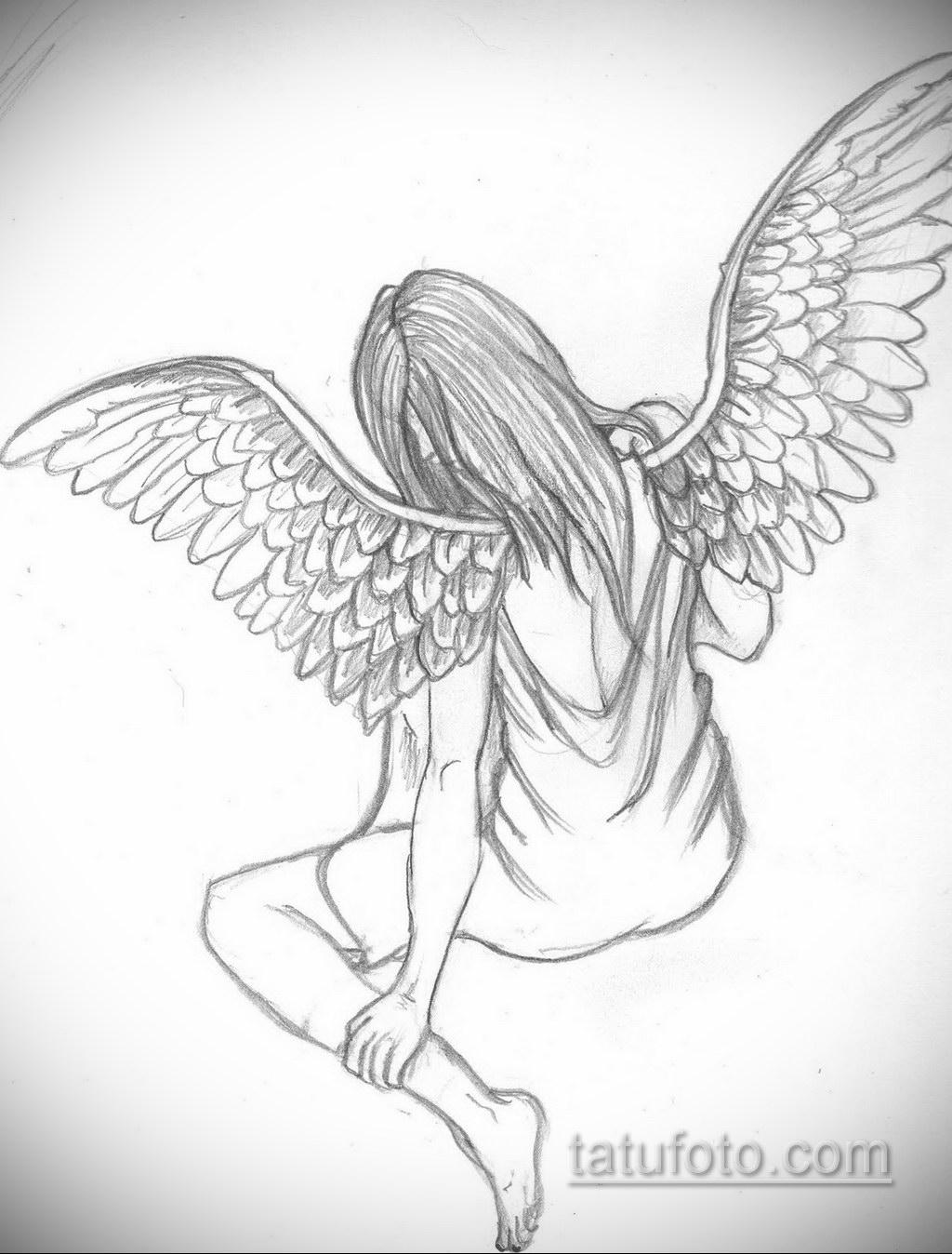 Фото ангельского рисунка тату 22.11.2020 №077 -Angelic tattoo- tatufoto.com