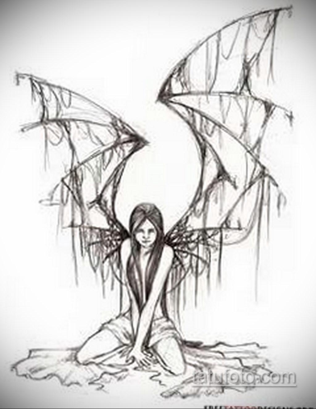 Фото ангельского рисунка тату 22.11.2020 №098 -Angelic tattoo- tatufoto.com