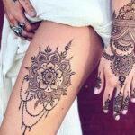Фото интересного рисунка хной на теле 13.11.2020 №403 -henna tattoo- tatufoto.com