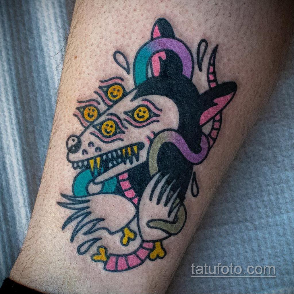 Фото пример рисунка тату Опоссум 18.11.2020 №121 -Opossum tattoo- tatufoto.com