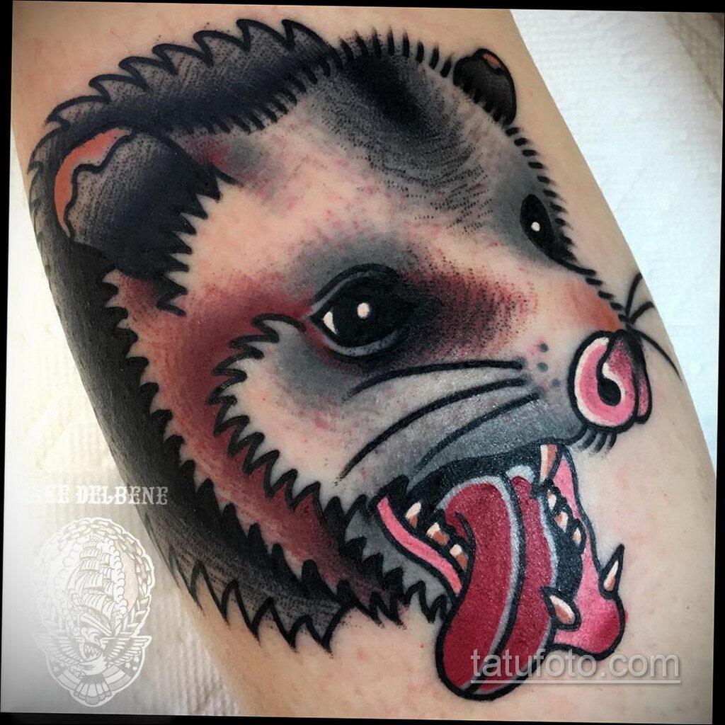 Фото пример рисунка тату Опоссум 18.11.2020 №135 -Opossum tattoo- tatufoto.com
