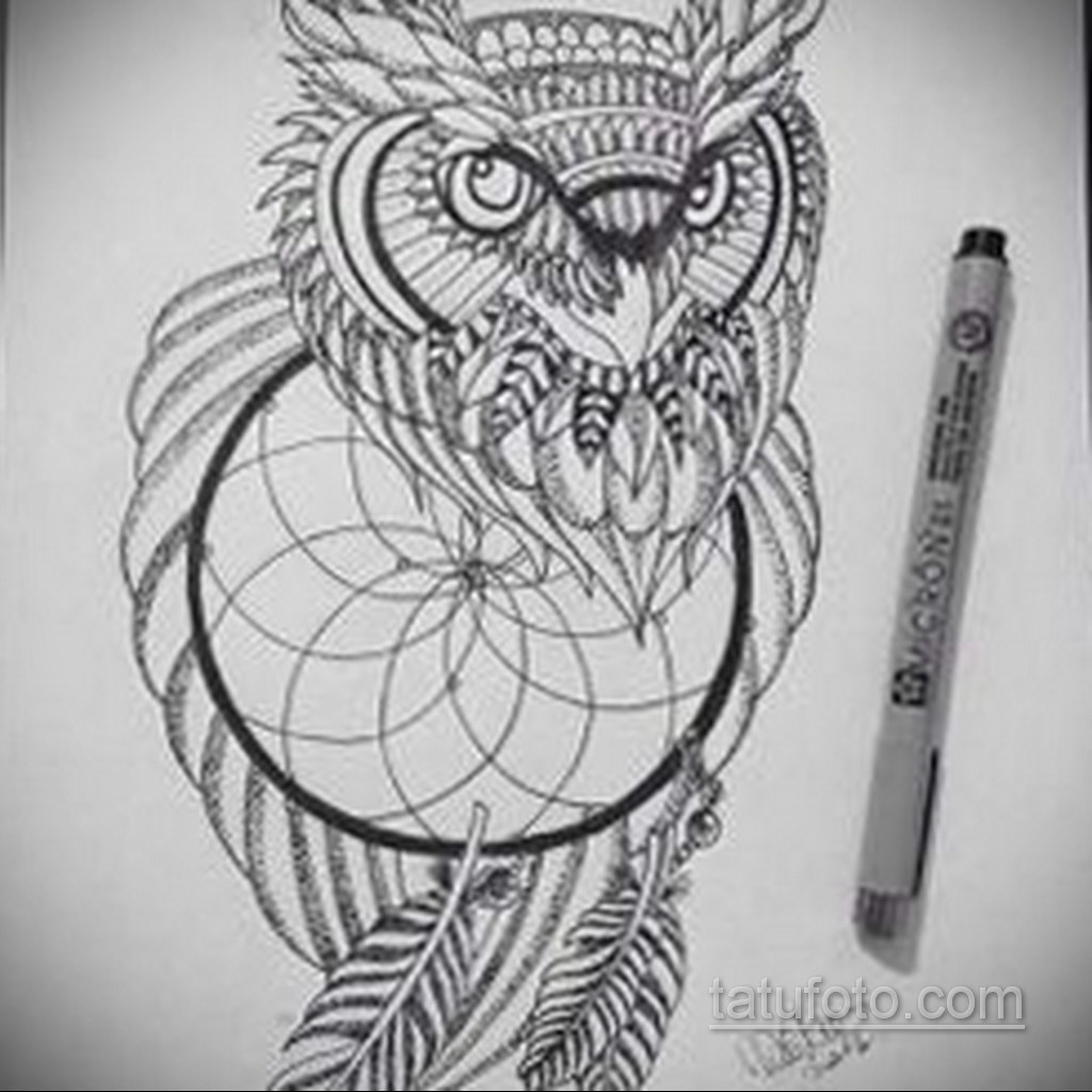 Фото рисунка тату с ловцом снов 22.11.2020 №039 -Dreamcatcher tattoo- tatufoto.com