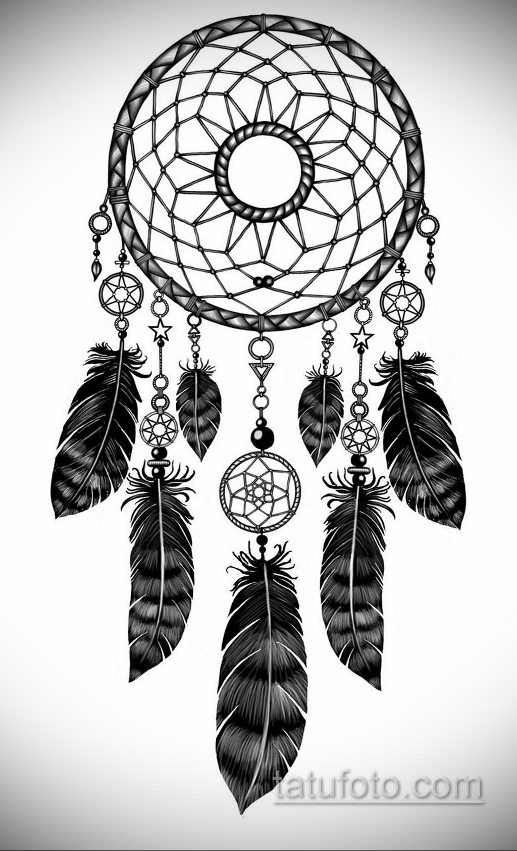 Фото рисунка тату с ловцом снов 22.11.2020 №059 -Dreamcatcher tattoo- tatufoto.com