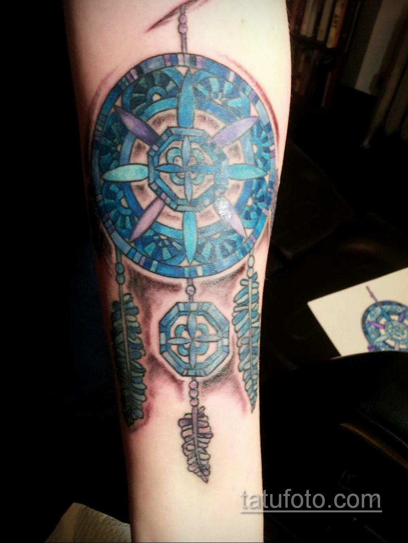 Фото рисунка тату с ловцом снов 22.11.2020 №182 -Dreamcatcher tattoo- tatufoto.com
