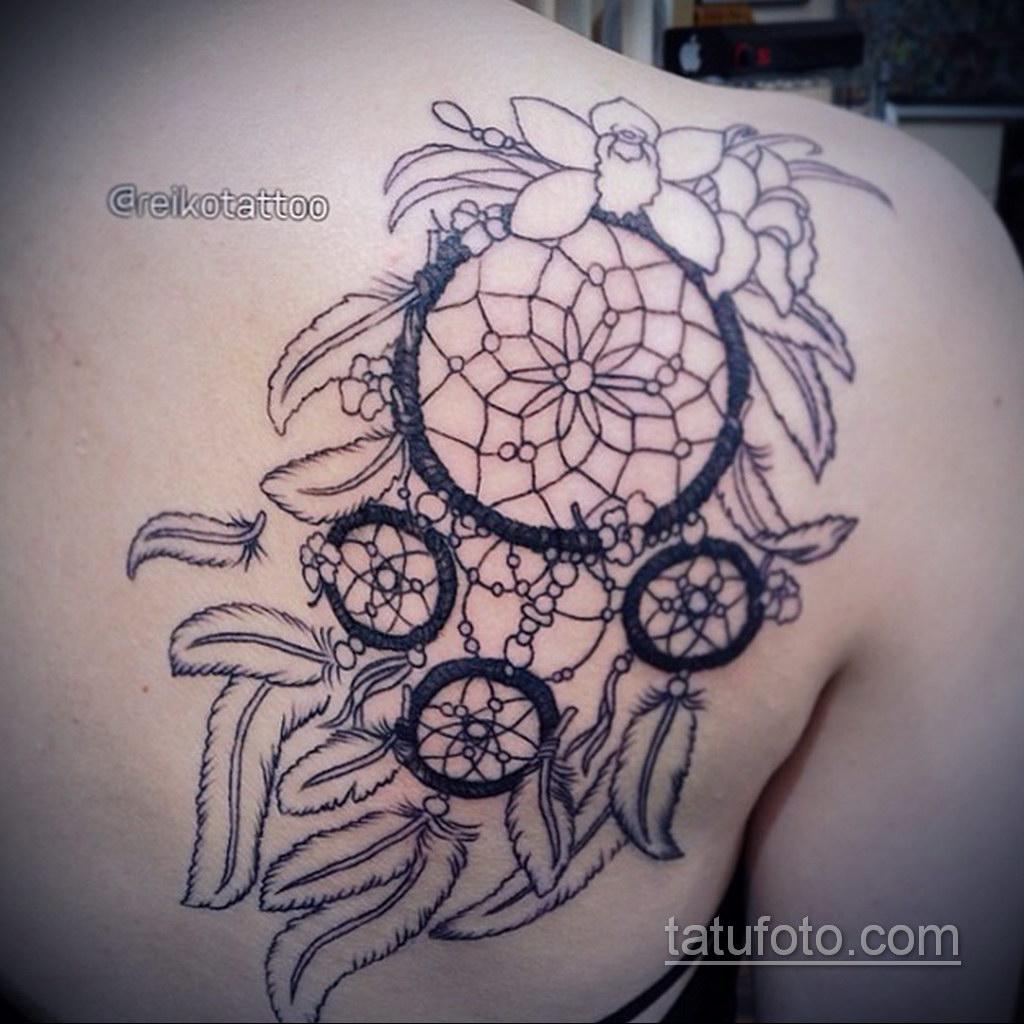 Фото рисунка тату с ловцом снов 22.11.2020 №261 -Dreamcatcher tattoo- tatufoto.com