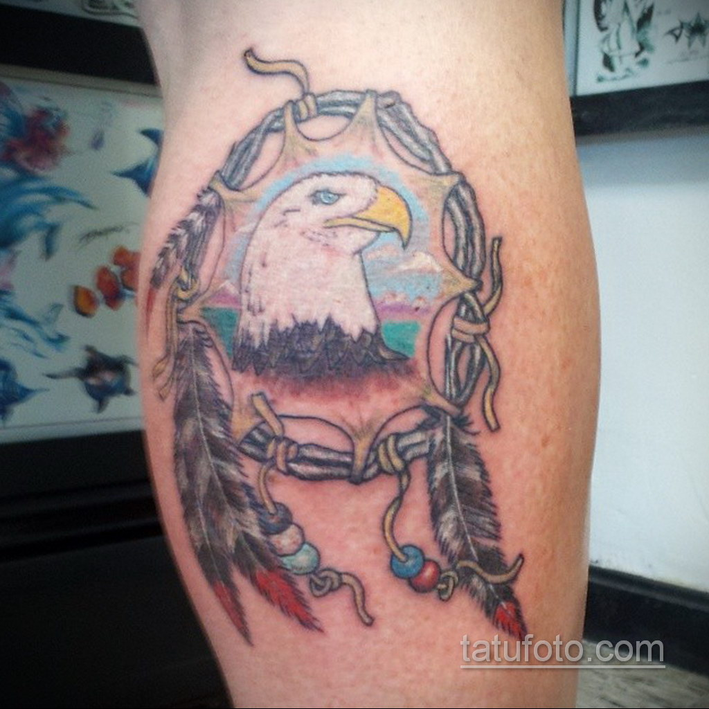 Фото рисунка тату с ловцом снов 22.11.2020 №273 -Dreamcatcher tattoo- tatufoto.com