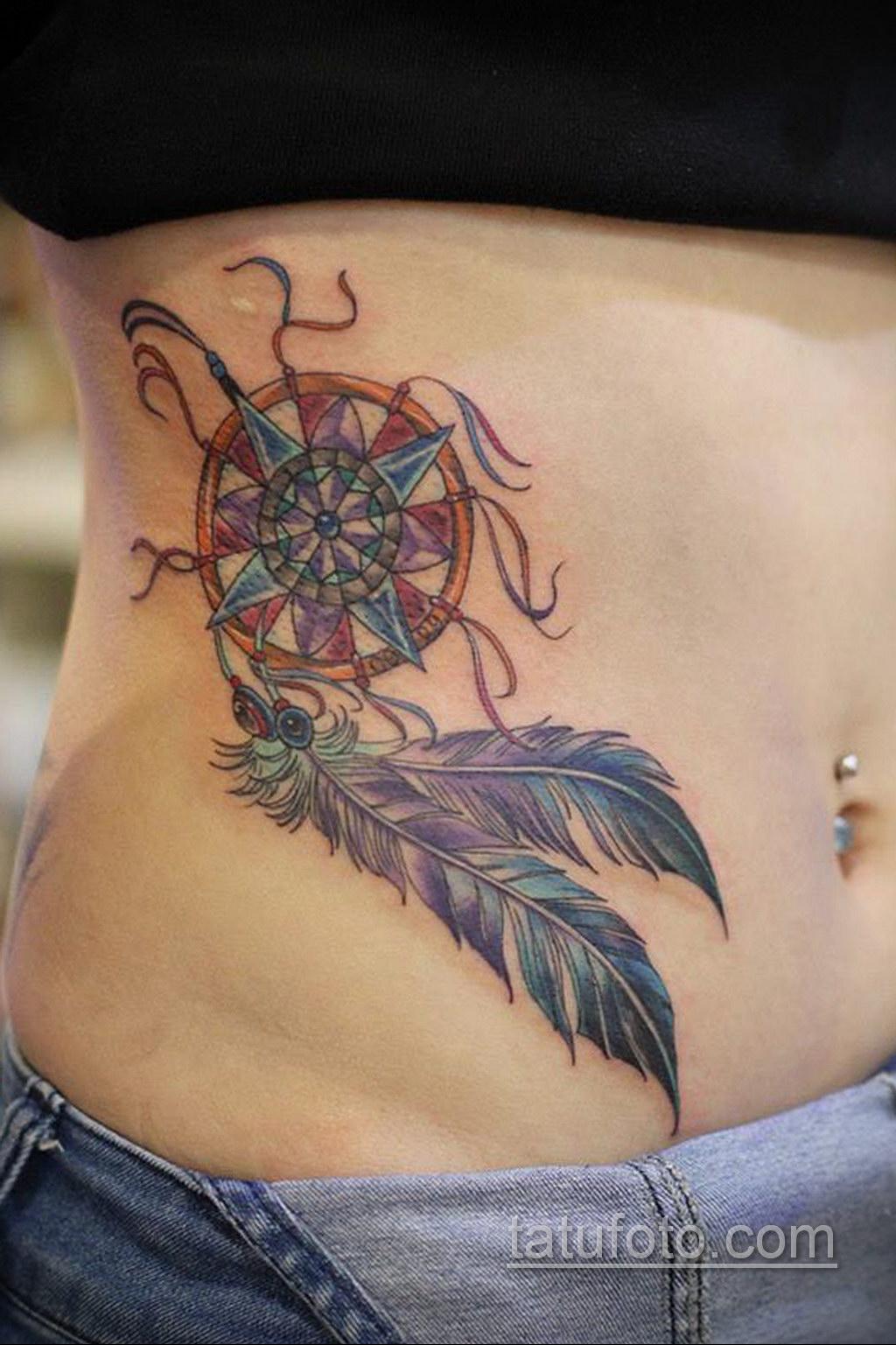 Фото рисунка тату с ловцом снов 22.11.2020 №344 -Dreamcatcher tattoo- tatufoto.com