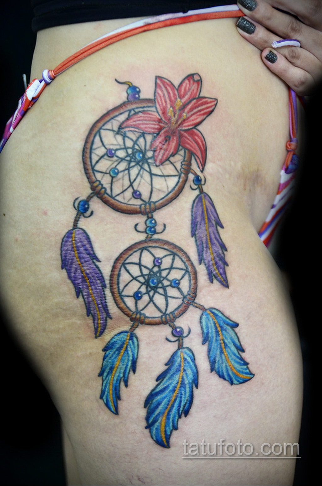 Фото рисунка тату с ловцом снов 22.11.2020 №404 -Dreamcatcher tattoo- tatufoto.com