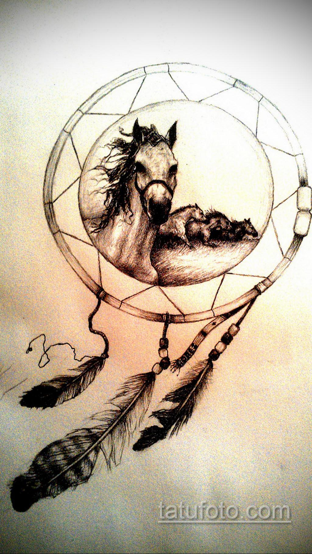 Фото рисунка тату с ловцом снов 22.11.2020 №429 -Dreamcatcher tattoo- tatufoto.com