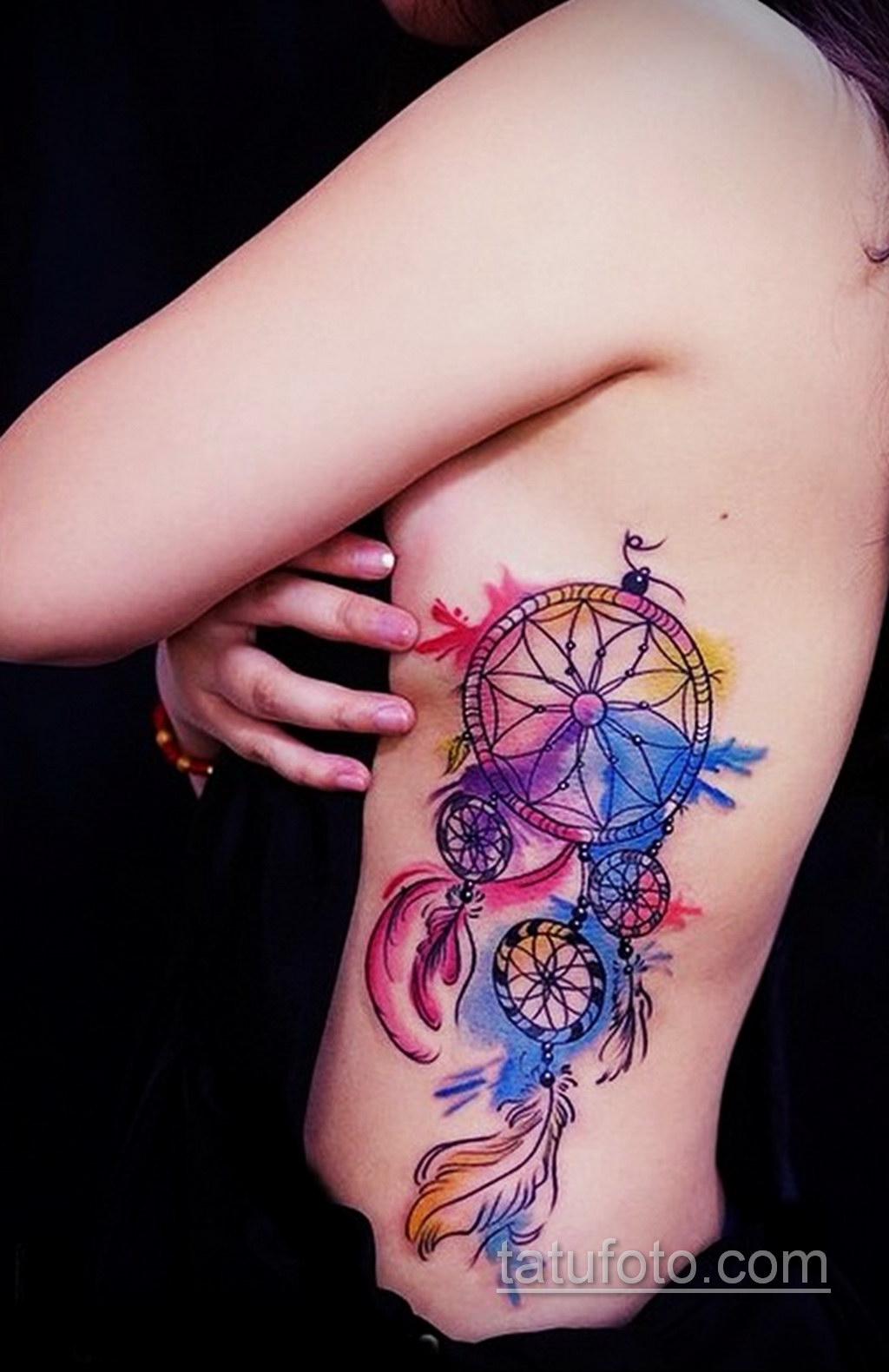 Фото рисунка тату с ловцом снов 22.11.2020 №468 -Dreamcatcher tattoo- tatufoto.com