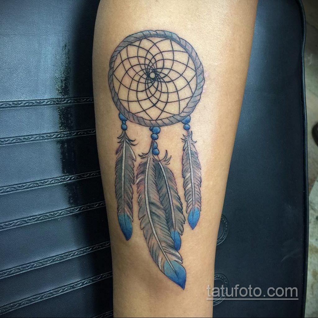 Фото рисунка тату с ловцом снов 22.11.2020 №554 -Dreamcatcher tattoo- tatufoto.com