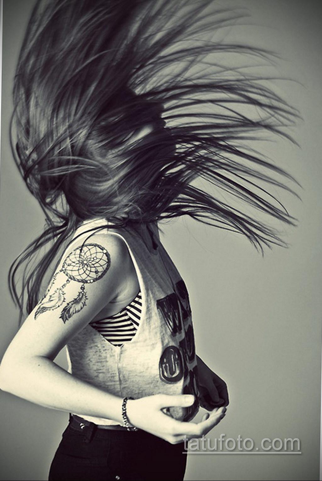 Фото рисунка тату с ловцом снов 22.11.2020 №589 -Dreamcatcher tattoo- tatufoto.com