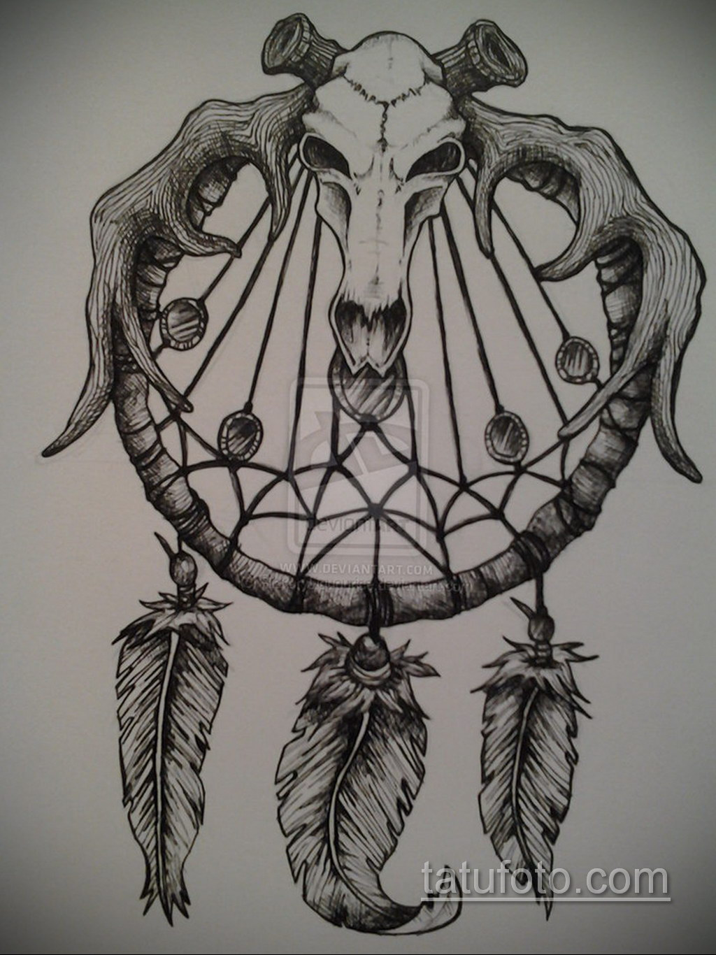 Фото рисунка тату с ловцом снов 22.11.2020 №673 -Dreamcatcher tattoo- tatufoto.com
