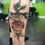 Фото татуировки с пончиком 22.11.2020 №207 -donut tattoo- tatufoto.com