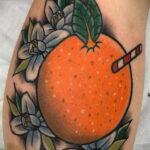 Пример рисунка татуировки апельсином 12.12.2020 №1047 -orange tattoo- tatufoto.com