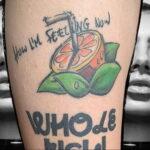 Пример рисунка татуировки апельсином 12.12.2020 №1064 -orange tattoo- tatufoto.com