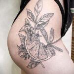Пример рисунка татуировки апельсином 12.12.2020 №1074 -orange tattoo- tatufoto.com