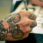 Пример рисунка татуировки про велосипед 15.12.2020 №248 -bike tattoo- tatufoto.com