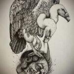Пример рисунка татуировки птица Гриф 13.12.2020 №407 -tattoo vulture- tatufoto.com