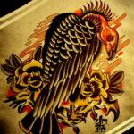 Пример рисунка татуировки птица Гриф 13.12.2020 №422 -tattoo vulture- tatufoto.com
