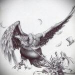 Пример рисунка татуировки птица Гриф 13.12.2020 №436 -tattoo vulture- tatufoto.com