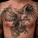 Пример рисунка татуировки птица Гриф 13.12.2020 №437 -tattoo vulture- tatufoto.com