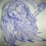 Пример рисунка татуировки птица Гриф 13.12.2020 №453 -tattoo vulture- tatufoto.com