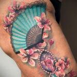 Пример рисунка татуировки с веером 13.12.2020 №094 -fan tattoo- tatufoto.com