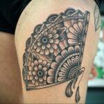 Пример рисунка татуировки с веером 13.12.2020 №134 -fan tattoo- tatufoto.com