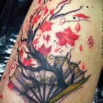 Пример рисунка татуировки с веером 13.12.2020 №164 -fan tattoo- tatufoto.com