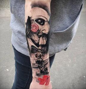 Джон Крамер (Пила) – фото тату 13.01.2021 №0014 -saw tattoo- tatufoto.com