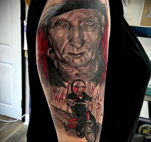 Джон Крамер (Пила) – фото тату 13.01.2021 №0015 -saw tattoo- tatufoto.com