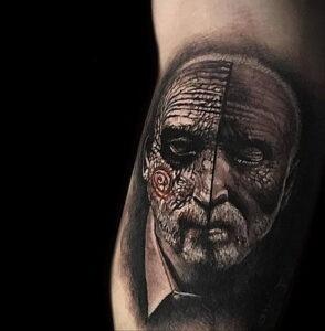 Джон Крамер (Пила) – фото тату 13.01.2021 №0019 -saw tattoo- tatufoto.com
