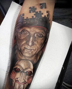 Джон Крамер (Пила) – фото тату 13.01.2021 №0026 -saw tattoo- tatufoto.com