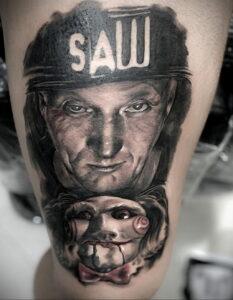 Джон Крамер (Пила) – фото тату 13.01.2021 №0032 -saw tattoo- tatufoto.com