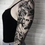 Женская тату в стиле реализм 02.01.2021 №012 -female tattoo realism- tatufoto.com
