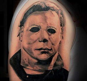 Майкл Майерс – фото тату 13.01.2021 №0008 -Michael Myers tattoo- tatufoto.com