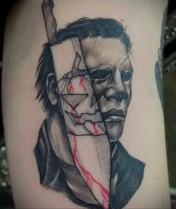 Майкл Майерс – фото тату 13.01.2021 №0017 -Michael Myers tattoo- tatufoto.com