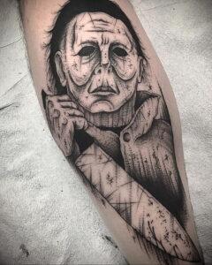 Майкл Майерс – фото тату 13.01.2021 №0049 -Michael Myers tattoo- tatufoto.com