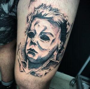 Майкл Майерс – фото тату 13.01.2021 №0059 -Michael Myers tattoo- tatufoto.com